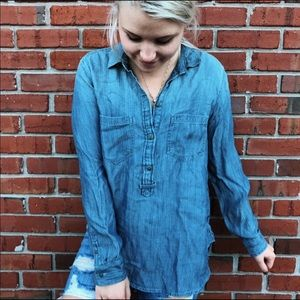American Eagle soft denim jean shirt blue button